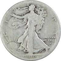 1916 S Liberty Walking Half Dollar G Good 90% Silver 50c US Coin Collectible