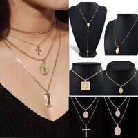 Religious Style Geometric Rosary Jesus Cross Pendant Chain Necklace Jewelry