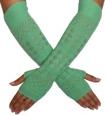 Fingerless Gloves Fashionista Luxury Arm Warmer Elbow Length Mint Green 16""