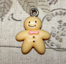 5x cute resin gingerbread man charms for DIY Jewellery Christmas