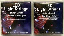 Patriotic Mini Star LED Light Strings Battery Operated Red White Blue - 2 Pack