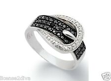 DIAMOND STERLING SILVER BLACK DIAMOND BUCKLE BAND RING! SIZE 9! FREE SHIP! NEW!