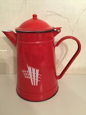 VINTAGE RED ENAMELWARE COFEE POT WITH WHEAT DESIGN. NICE!