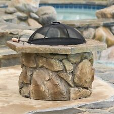 Natural Stone Fire-Pit Outdoor Deck Patio Wood Burning Light Heat Flame Stories