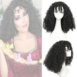 Tangled Mother Gothel Women's Black Curly Medium Long Cosplay Full Wig