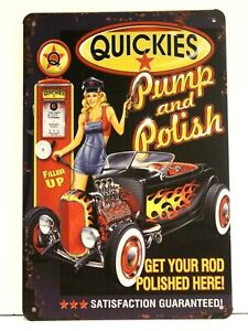 Quickies Sexy Pinup Girl Tin Sign Poster Vintage Style Man Cave Garage Hot Rod