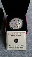 2008 Canada $20 Dollars Silver Coin Sapphire Crystal Snowflake Case&COA