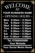 Personalised OPENING TIME/HOURS Metal Aluminium Plaque Sign Shop Pub Bar 5 Sizes
