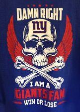 Damn Right Win or Lose I am a Giants Fan 100% Cotton T-shirt Barkley Eli - XL