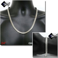 "24""MEN Stainless Steel 8mm Silver Miami Cuban Curb Chain Necklace Bracelet*S155"