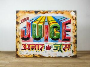 Vintage 3ft Wide Hand Painted Metal and Wood Indian Juice Shop Sign MILL-1169