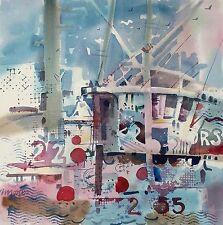 """FISHING BOATS""  original large watercolor by American artist Micheal Jones"