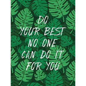 Motivational Do Your Best Jungle Green Large Canvas Wall Art Print