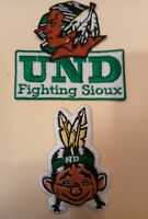 (2) University of North Dakota Fighting Sioux iron on embroidered patches patch