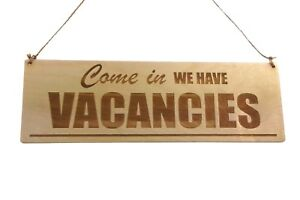 Vacancies, No vacancies Wood Sign - for B&B Guesthouses Hotels Double Sided