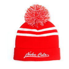 FALLOUT 76 Embroidered Nuka-Cola Logo Bobble Beanie, Unisex, Red/White KC126350