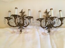 SHABBY ANTIQUE Vtg CRYSTAL PRISM Sconces Metal PINK MURANO DROPS FRENCH ITALIAN