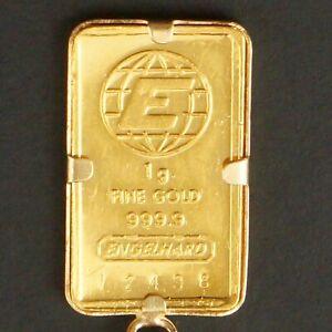 Engelhard 1 Gram Solid 999.9 Fine Gold Bullion Bar Charm, w/ 14K Pendant Bezel