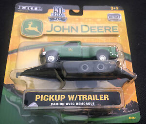 1/64 ERTL JOHN DEERE GREEN FORD F-350 DEALER PICKUP W/ TRAILER