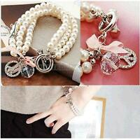 UN3F Fashion Pearl Chain Rhinestone Bracelet Bangle with Peace Trumpet Pink Bow