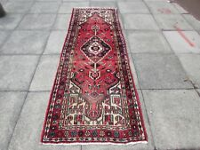 Old Traditional Hand Made Persian Oriental Wool Pink Long Runner 251x88cm