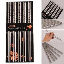 "5 Pair 9"" Reusable Chopsticks Metal Korean Chinese Stainless Steel Chop Sticks"