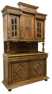 Antique Sideboard, French Henri II Style, Carved Walnut,  Handsome, 1800's!