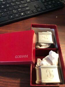 Vintage Gorham Set of 2 Pewter Napkin Rings Holders in Gift Box Table Setting