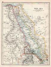 Map Of Red Sea Egypt Sudan Suez  W & AK Johnston 1902 Original Antique