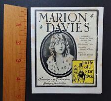 RARE Marion Davis - 1923 Silent Film Advertising Flyer Little Old New York Movie