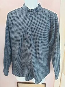 Merc London Size L Blue Geometric Print Shirt