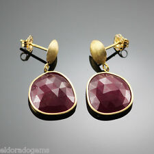 GEMSTONE DANGLE EARRINGS - NATURAL RED SAPPHIRE IN 14K YELLOW GOLD