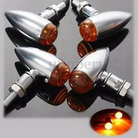 4x Chrome Metal Motorcycle Bullet Turn Signal Indicator Light For Harley Chopper