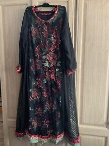 Long Dress Anarkali stitched Maria B Baroque Asian Suit 2 Piece Net Jamawar