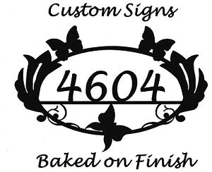 Butterfly House Number Address Metal Sign, Metal Art, Handmade, Any Numbers