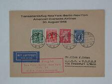 (e228) solo volo lettera FFC Berlino New York 30.8.1946 ROSSO società TIMBRO