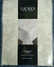 NWT Ralph Lauren Gray White Floral Cotton Tablecloth 60 x 84 Inches