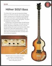 The Hofner 500/1 Bass & Hofner 172 Solid Body guitar 6 x 8 article print