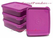 Tupperware Square Away Mini Sandwich Keeper Purple Set of 4 BRAND NEW