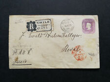 Chile,old registered postal stationery to Russia,1895