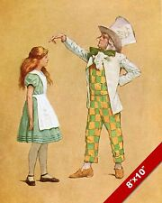 ALICE IN WONDERLAND & THE MAD HATTER LEWIS CARROL CANVAS PAINTING ART PRINT