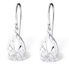 925 Sterling Silver Filigree Patterned Oval Drop/Dangle Earrings (Design 3)