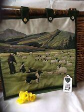 Mountain sheep & sheepdog watercolour velvet hanging wall art Handmade in Wales
