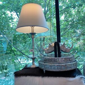 Bloomingdale Glass With Silver Base Lamp & White Shade Table / Bedside Lamp