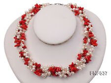 Red Coral Chips Necklace Jewelry New 5-6mm Four-strand White Freshwater Pearls