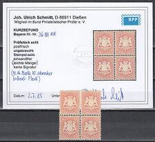 Bayern 18 Kr. Wappen 1875** Viererblock Michel 36 Befund (S11262)