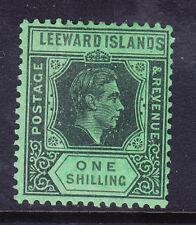 More details for leeward is gvi 1942 sg110bb 1/- black & grey on emerald lightly m/m. cat £130