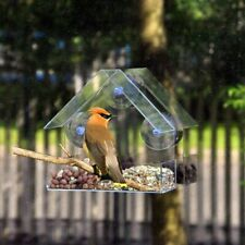 Glass Window Viewing Bird Feeder Hotel Table Seed Peanut Hanging Suction House