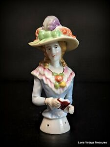 Antique Large Half Doll, Pincushion Doll, Lady with Galilean Binoculars