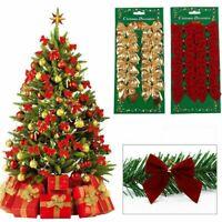 12 Pz Albero di Natale Fiocco Decorazione Festa Matrimonio Giardino Ornamento